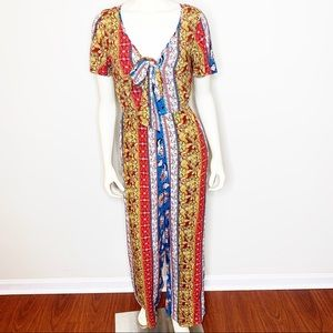 Band of Gypsies Boho Floral Blue Jumpsuit Small